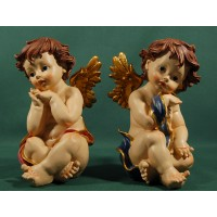 Dos ángeles sentados 25 cm resina