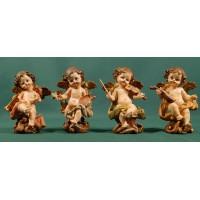 Cuatro ángeles músicos con pie 11 cm resina