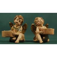 Dos ángeles sentados portavelas 13 cm resina