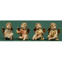 Cuatro ángeles sentados objetos 13 cm resina