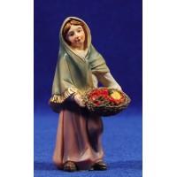 Pastora con cesta frutas 9 cm resina