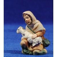 Pastor adorando con cordero 9 cm resina