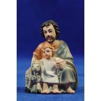 Pastor adorando con niño y cordero 9 cm resina