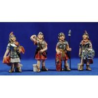 Grupo 4 soldados romanos 8 cm resina