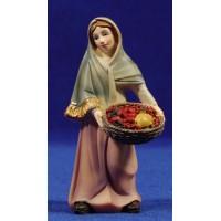 Pastora con cesta frutas 11 cm resina