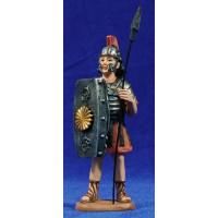 Soldado romano con lanza y escudo 11 cm resina