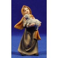Pastora con cordero pequeño en brazos 11 cm resina