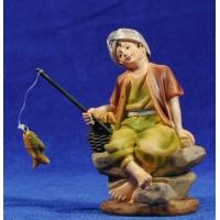 Pescador con caña sentado 11 cm resina