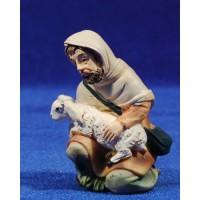 Pastor adorando con cordero 11 cm resina