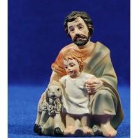 Pastor adorando con niño y cordero 11 cm resina