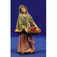 Pastora con cesta frutas 15 cm resina