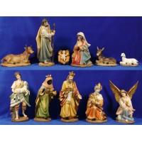 Nacimiento con reyes y pastor 30 cm resina