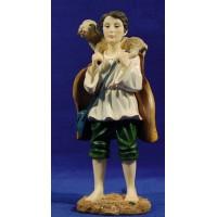 Pastor con cordero en el hombro espalda 27 cm resina