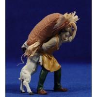 Pastor con saco de paja y una cabra 11 cm resina