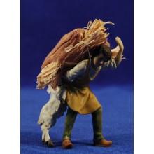 Pastor con saco de paja y una cabra 9 cm resina