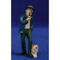 Pastor viejo con perro 10 cm resina