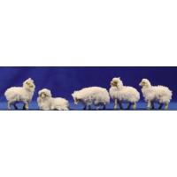 Grupo corderos con lana 12 cm resina