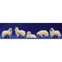 Grupo corderos con lana 8 cm resina