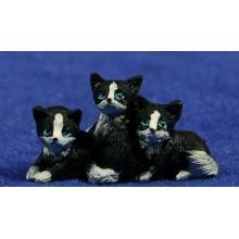 Conjunto tres gatos 8 cm resina