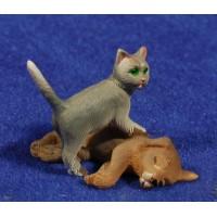 Grupo gato y perro 8 cm resina