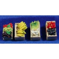 Cuatro cajas con fruta y verduras 3 cm resina