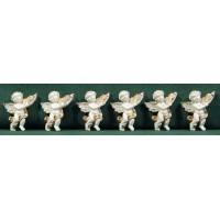 Conjunto seis ángeles blancos pegar 3,5 cm resina