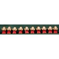 Conjunto diez ángeles rojos pegar 3 cm resina