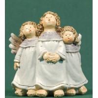 Conjunto tres ángeles blancos cantando 9,56 cm resina