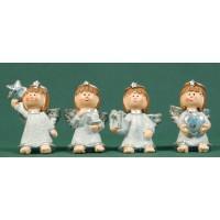 Conjunto cuatro ángeles blancos de pie 6 cm resina