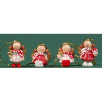 Conjunto cuatro ángeles colgar 4 cm resina