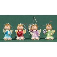 Conjunto cuatro ángeles colores colgar 4 cm resina