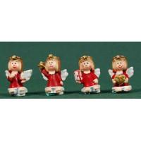Conjunto cuatro ángeles rojos de pie 2,5 cm resina