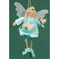 Ángel vestido azul celeste corazon madera 18 cm ropa Baden