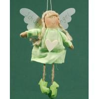 Ángel vestido verde corazon madera 18 cm ropa Baden