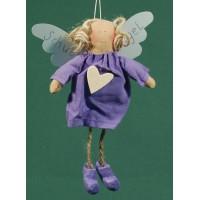 Ángel vestido lila corazon madera 18 cm ropa Baden