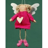 Ángel vestido rosa corazon madera 18 cm ropa Baden