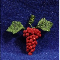 Uva rojo con hojas 1,5 cm resina