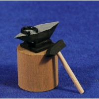 Yunque con herradura y martillo 3,5 cm madera