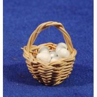 Cesto con huevos 3 cm mimbre