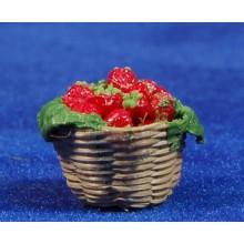 Cesto con fresas 2,5 cm resina