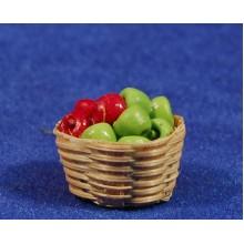 Cesto con manzanas 2,5 cm resina