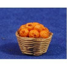 Cesto con naranjas 2,5 cm resina