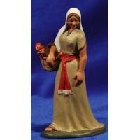 Pastora con cesto 12 cm barro pintado Artdemirs
