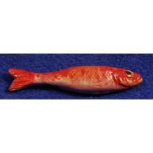 Pez anaranjado 4 cm barro pintado