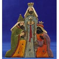 Reyes adorando imitando madera 15,5 cm resina
