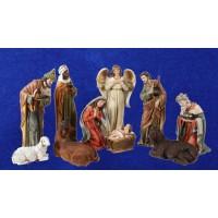 Nacimiento con reyes y pastor 60 cm resina