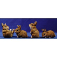 Grupo 4 conejos 80 cm resina