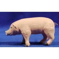 Cerdo 14 cm barro pintado